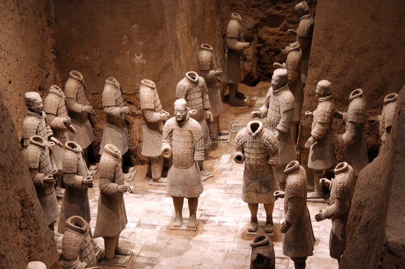 Terracotta warriors in Xian, China. This is the 3rd Pit of the Terracotta Army archaeological site in Xian China. The warriors are generals and army leaders stock images