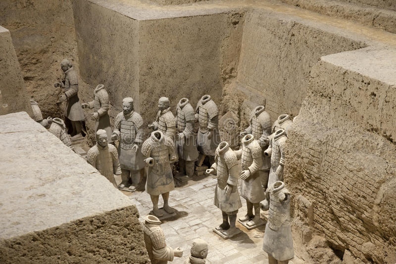 Terracotta Warrors. Some of the semi-restored teracotta warriors found near xi'an, China stock image