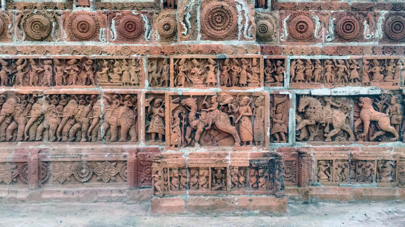 Terracotta works on Kantajew Temple stock photography