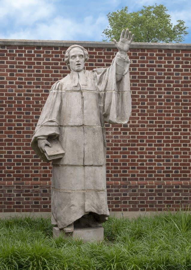 Terracottabeeldhouwwerk van Francis Makemie door Alexander Stirling Calder, Presbyteriaanse Historische de Maatschappij buitentui stock foto