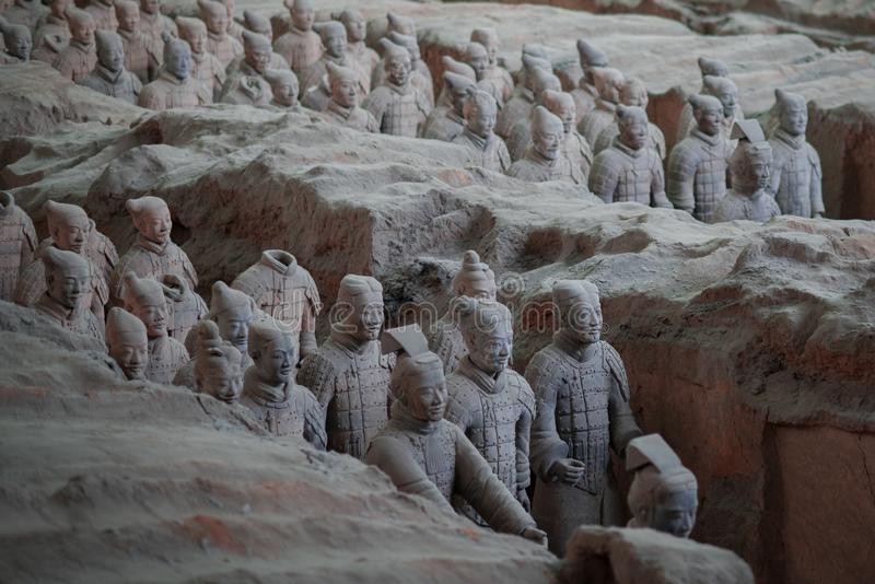 Terracottamilitairen van het Terracottaleger, een deel van het Mausoleum van Eerste Qin Emperor en een Unesco-Plaats van de Werel royalty-vrije stock foto