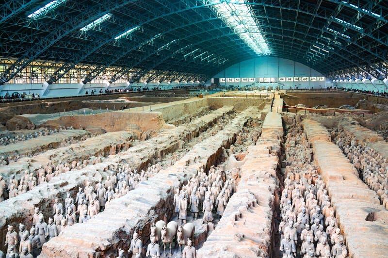 Terracottastrijders in Xian, China royalty-vrije stock afbeeldingen