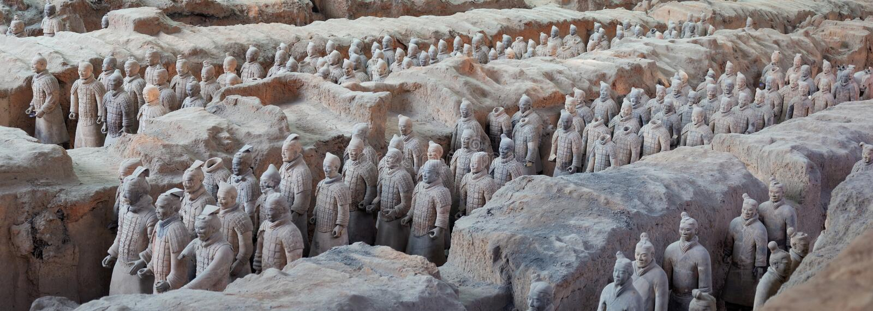 Terracottastrijders in Xian, China stock foto's