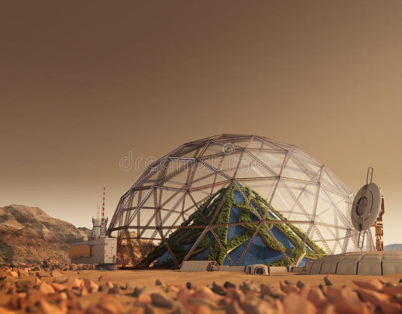 Terraforming Mars z koloniÄ… posterunkowÄ… royalty ilustracja