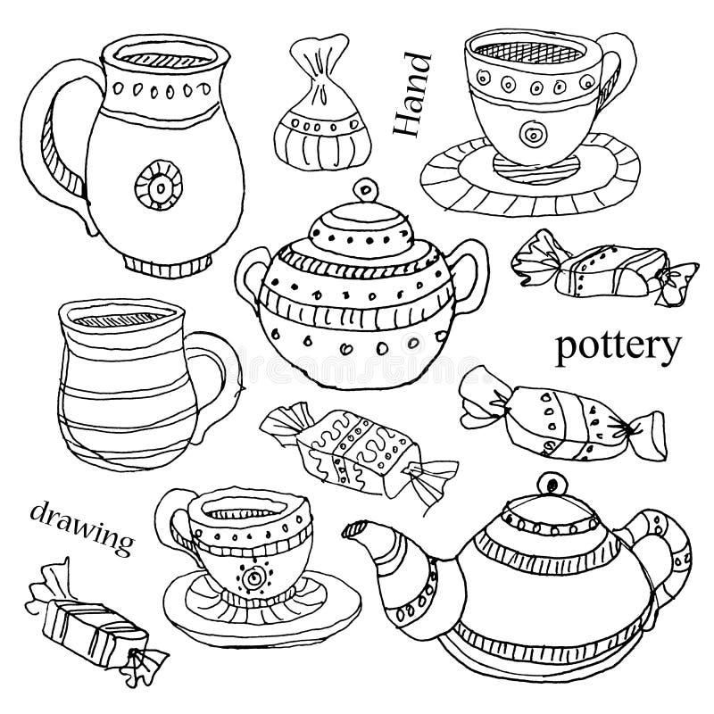 Terraglie nello stile disegnato a mano dell'inchiostro immagine stock