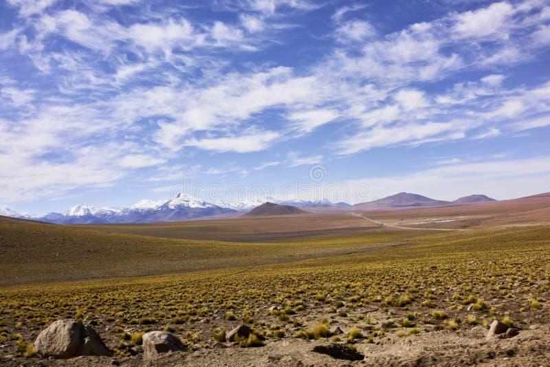 Terrain aride de désert d'Atacama et crêtes des Andes couvertes par neige photos stock
