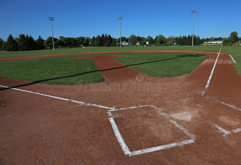 Terrain de base-ball grand-angulaire image stock