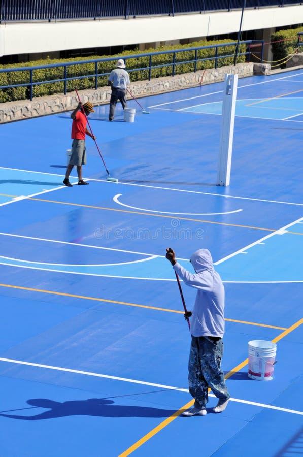 Terrain de basket de peinture image libre de droits