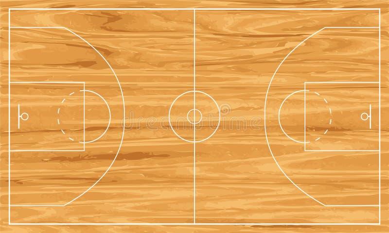 Terrain de basket en bois illustration de vecteur