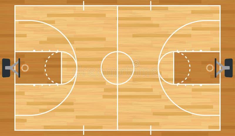 Terrain de basket réaliste de vecteur illustration stock