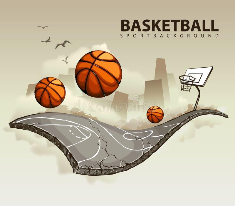 Terrain de basket surréaliste illustration de vecteur