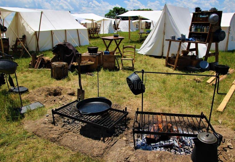 Terrain de camping de guerre civile image libre de droits