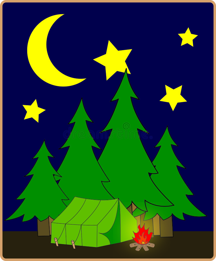 Terrain de camping la nuit illustration libre de droits