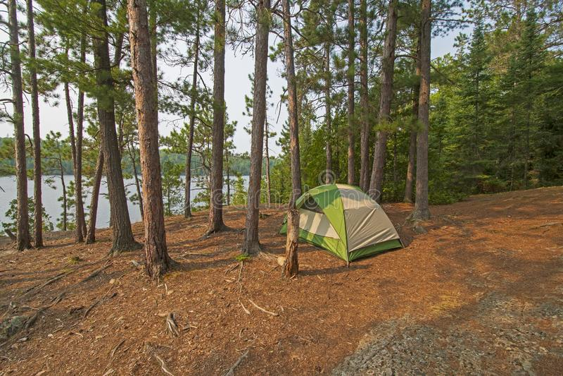 Terrain de camping tranquille sur un lac du nord woods photos libres de droits