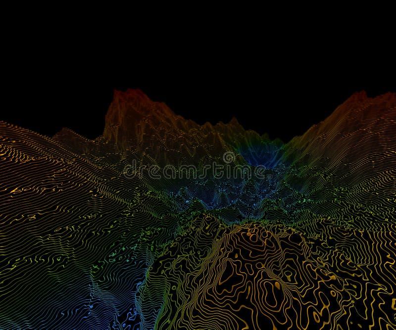 terrain de 3D Wireframe illustration de vecteur