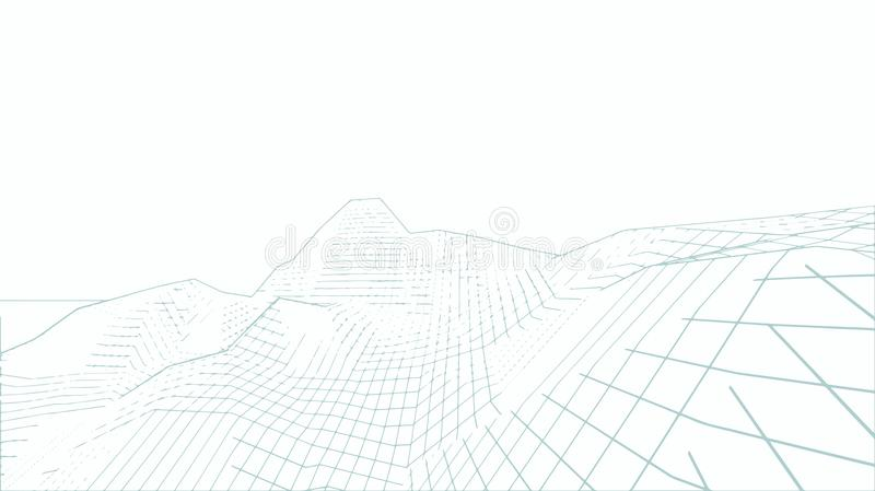 terrain de 3D Wireframe grand-angulaire illustration libre de droits