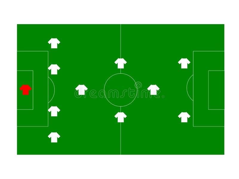Terrain de football avec des joueurs illustration stock