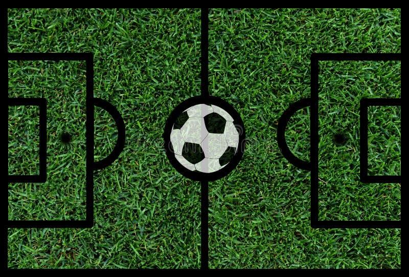 Terrain de football avec la boule illustration libre de droits