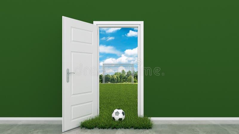 Terrain de football avec la porte photos stock