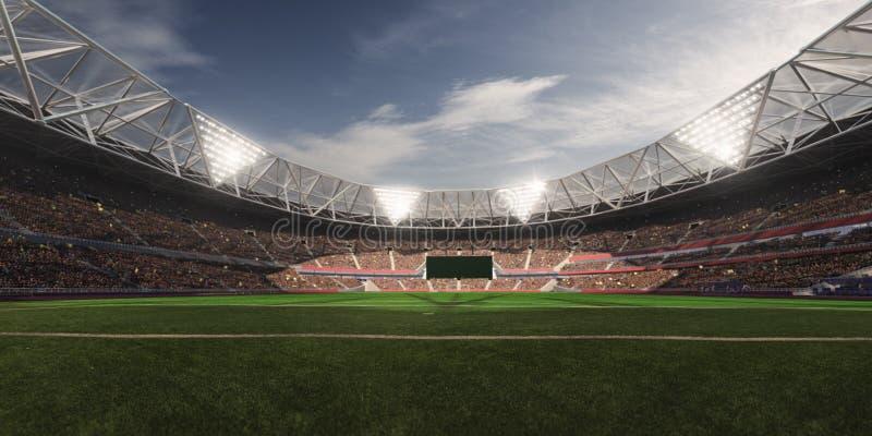 Terrain de football d'arène de stade de soirée photographie stock libre de droits