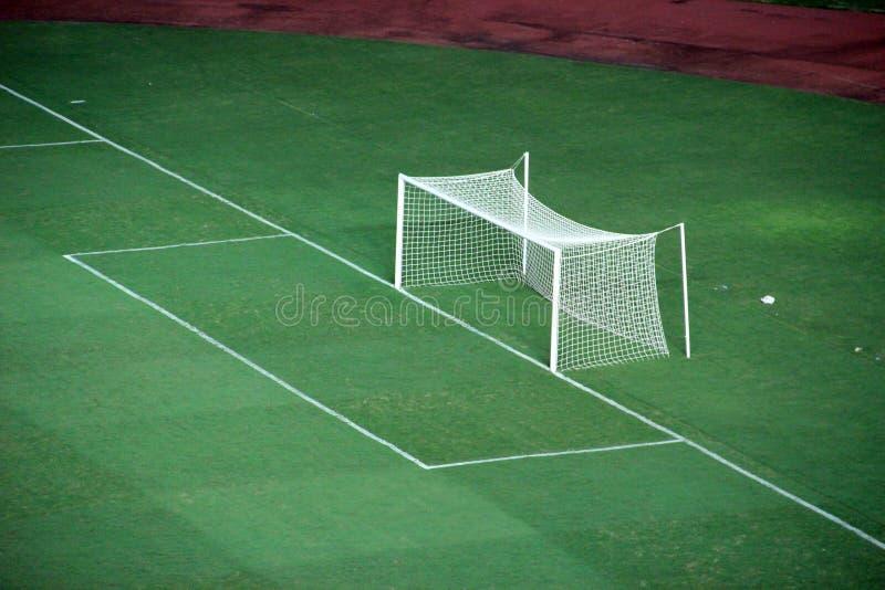 Terrain de football de but photographie stock