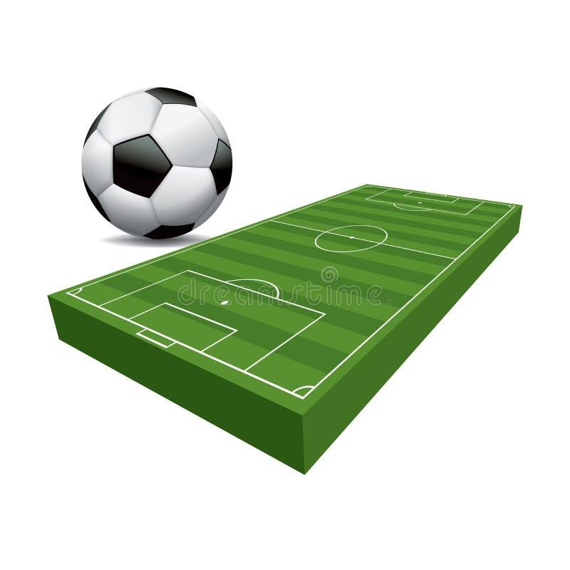 terrain de football du football 3D et illustration de boule illustration de vecteur