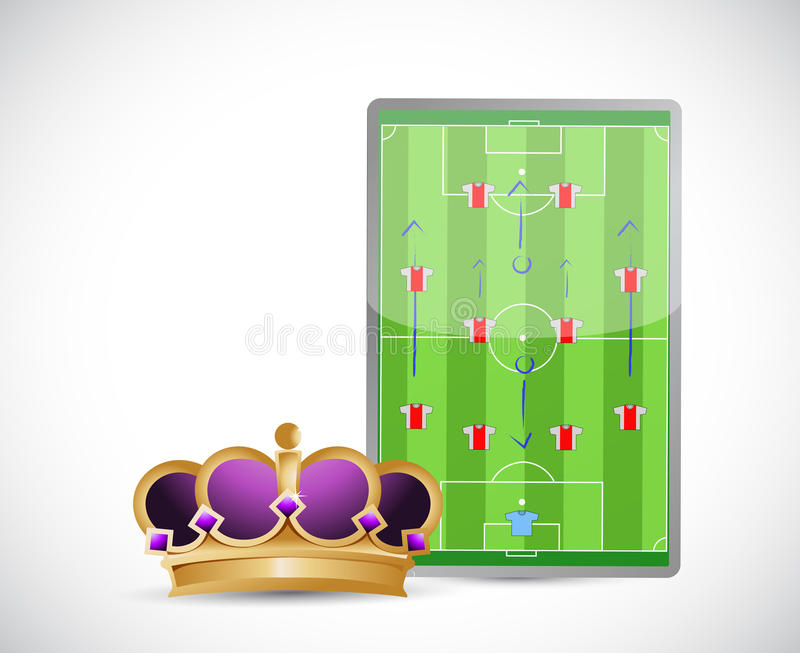 Terrain de football et conception d'illustration de couronne illustration libre de droits