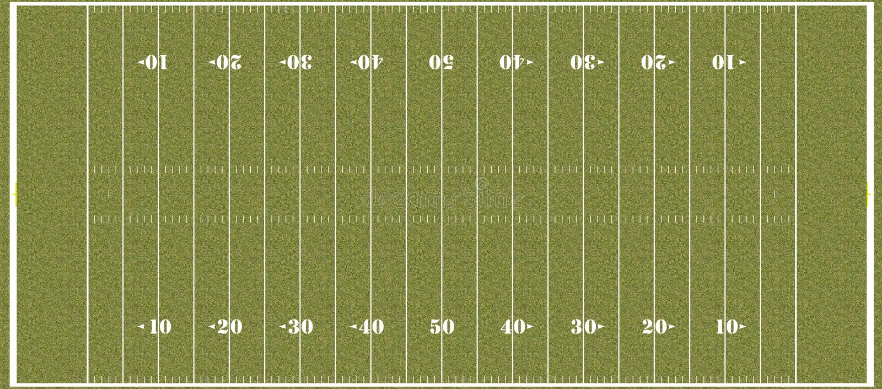 Terrain de football - hachures réglementaires de NFL images stock