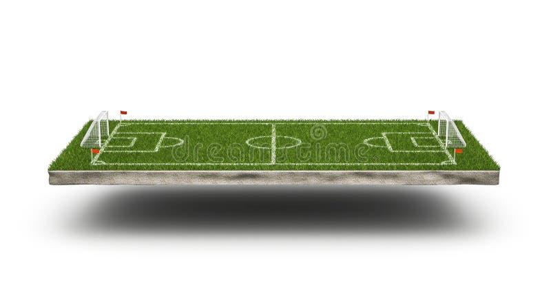 Terrain de football de l'herbe verte 3d et fond de terrain de football Secteur d'objet du jeu 3d de stade de football Vue de pers photographie stock libre de droits
