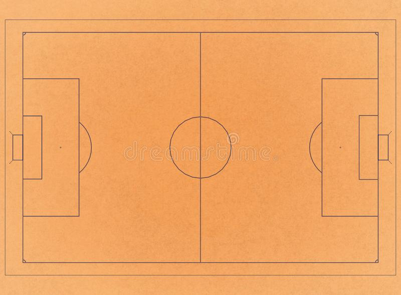 Terrain de football - rétro architecte Blueprint illustration stock
