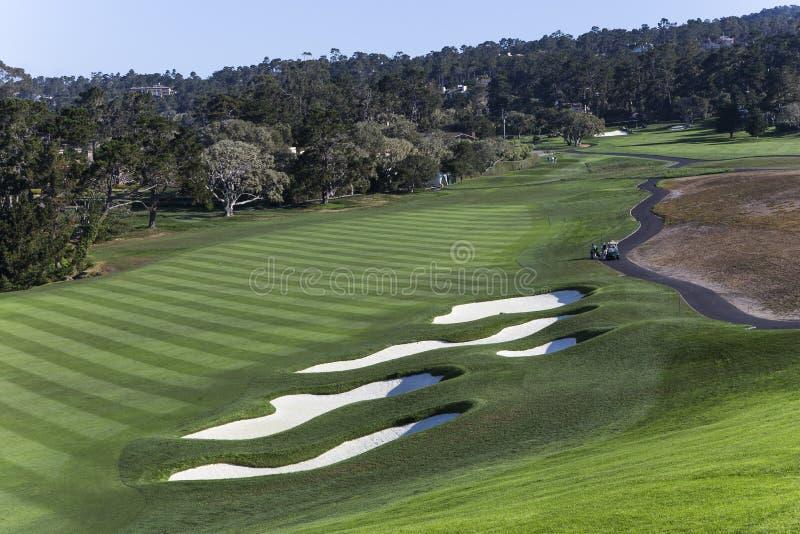 Terrain de golf de Pebble Beach, Monterey, la Californie, Etats-Unis image stock