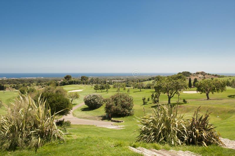 Terrain de golf en Espagne (Majorca) photographie stock libre de droits