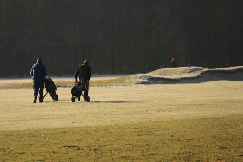 Terrain de golf de marche de golfeurs en hiver image libre de droits