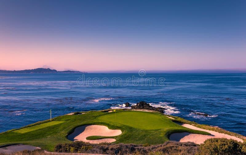Terrain de golf de Pebble Beach, Monterey, la Californie, Etats-Unis photos stock