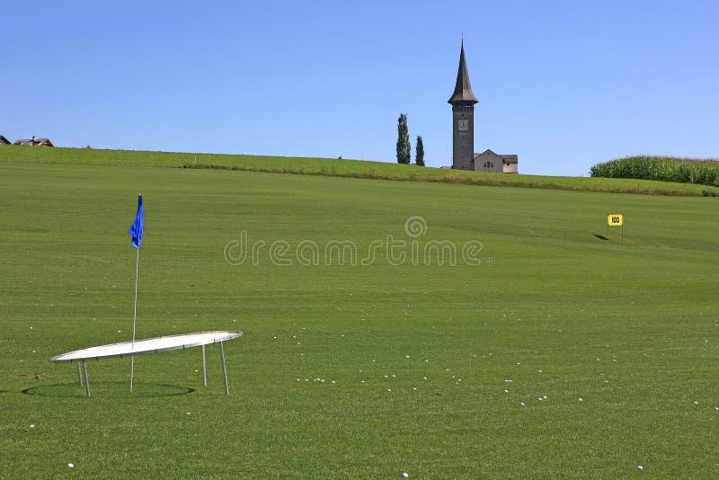 Terrain de golf Schluein - Sagogn, Suisse image stock