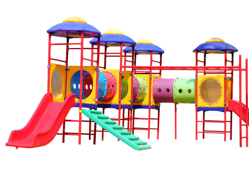 Terrain de jeu coloré d'enfants d'isolement sur le fond blanc photographie stock