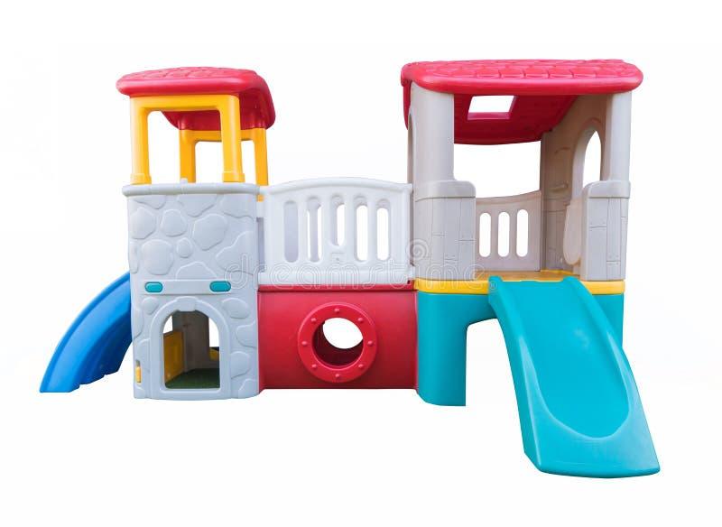 terrain de jeu d'enfants d'isolement sur le fond blanc avec la coupure p image stock