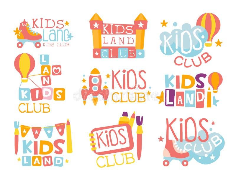 Terrain de jeu de terre d'enfants et ensemble de club de divertissement de signes colorés de promo pour l'espace jouant pour des  illustration de vecteur