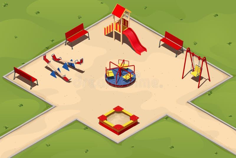 Terrain de jeu du ` s d'enfants avec un bac à sable, oscillations, carrousels et une colline, illustration dans isométrique illustration libre de droits