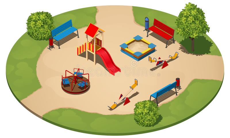 Terrain de jeu du ` s d'enfants sur une clairière ronde parmi l'herbe, avec trois chemins, vecteur isométrique illustration stock