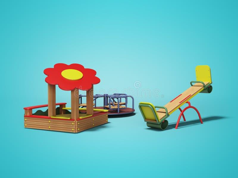 Terrain de jeu en bois moderne pour des enfants avec le bac à sable et deux oscillations 3d rendre sur le fond bleu avec l'ombre illustration stock