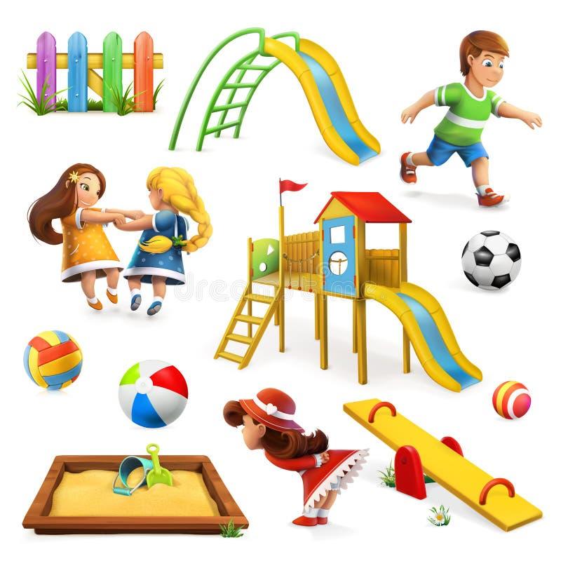 Terrain de jeu, ensemble d'icône de vecteur illustration de vecteur