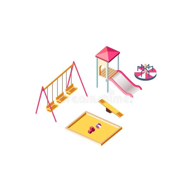 Terrain de jeu isométrique d'enfants illustration stock