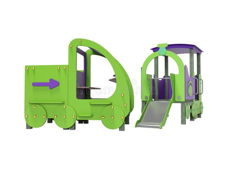 Terrain de jeu pourpre vert de voiture et de train pour des enfants avec la glissière 3d ne rendre sur le fond blanc aucune ombre illustration de vecteur