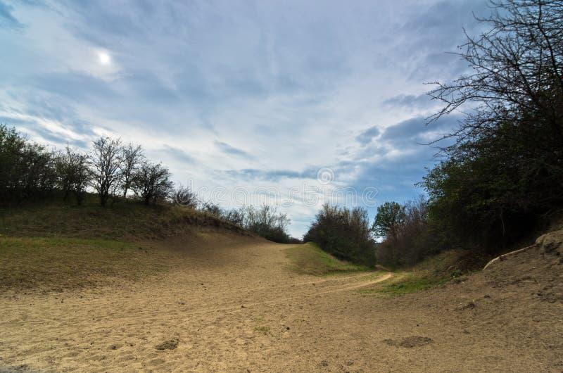 Terrain de prairie entouré par de petites dunes de sable images libres de droits
