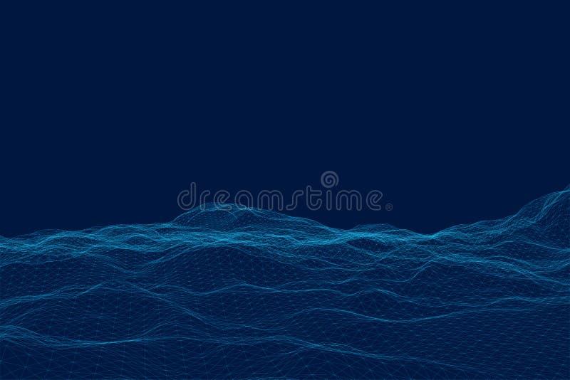 Terrain in?gal polygonal Surface de maille de Wireframe Vecteur illustration libre de droits
