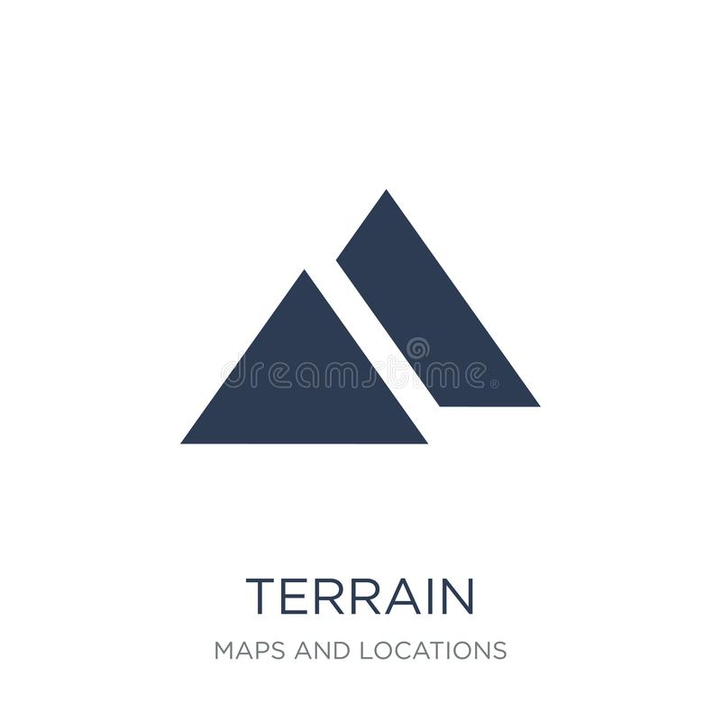 Terrain icon. Trendy flat vector Terrain icon on white background from Maps and Locations collection vector illustration