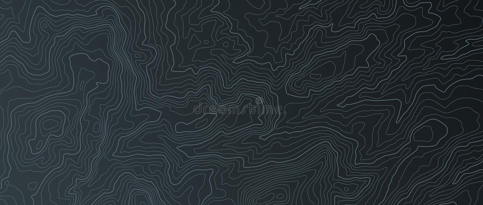 Terrain map. Contours trails, image grid geographic relief topographic contour line maps cartography texture, vector. Geo charts mapping mountain topo sea royalty free illustration