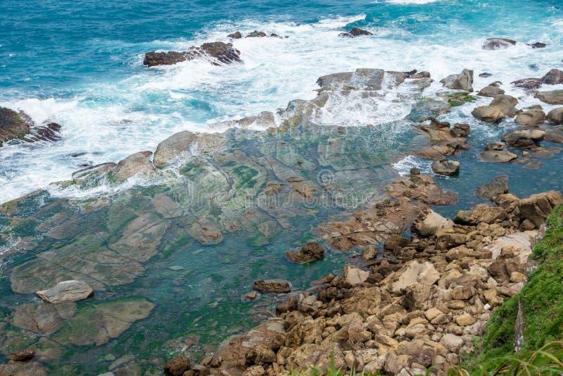 Terrain Mer-érodé de Badouzi Daping côtier dans le secteur de Zhongzheng, Keelung image libre de droits