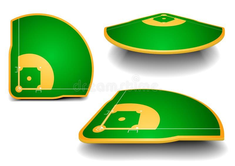 Terrains de base-ball avec la perspective illustration stock